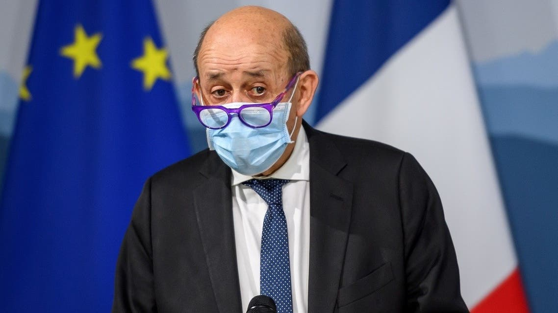 French European and Foreign Affairs Minister Jean-Yves Le Drian gives a press conference following a meeting with Swiss Foreign Minister in Kehrsatz near Bern, on November 16, 2020. (Fabrice Coffrini/AFP)