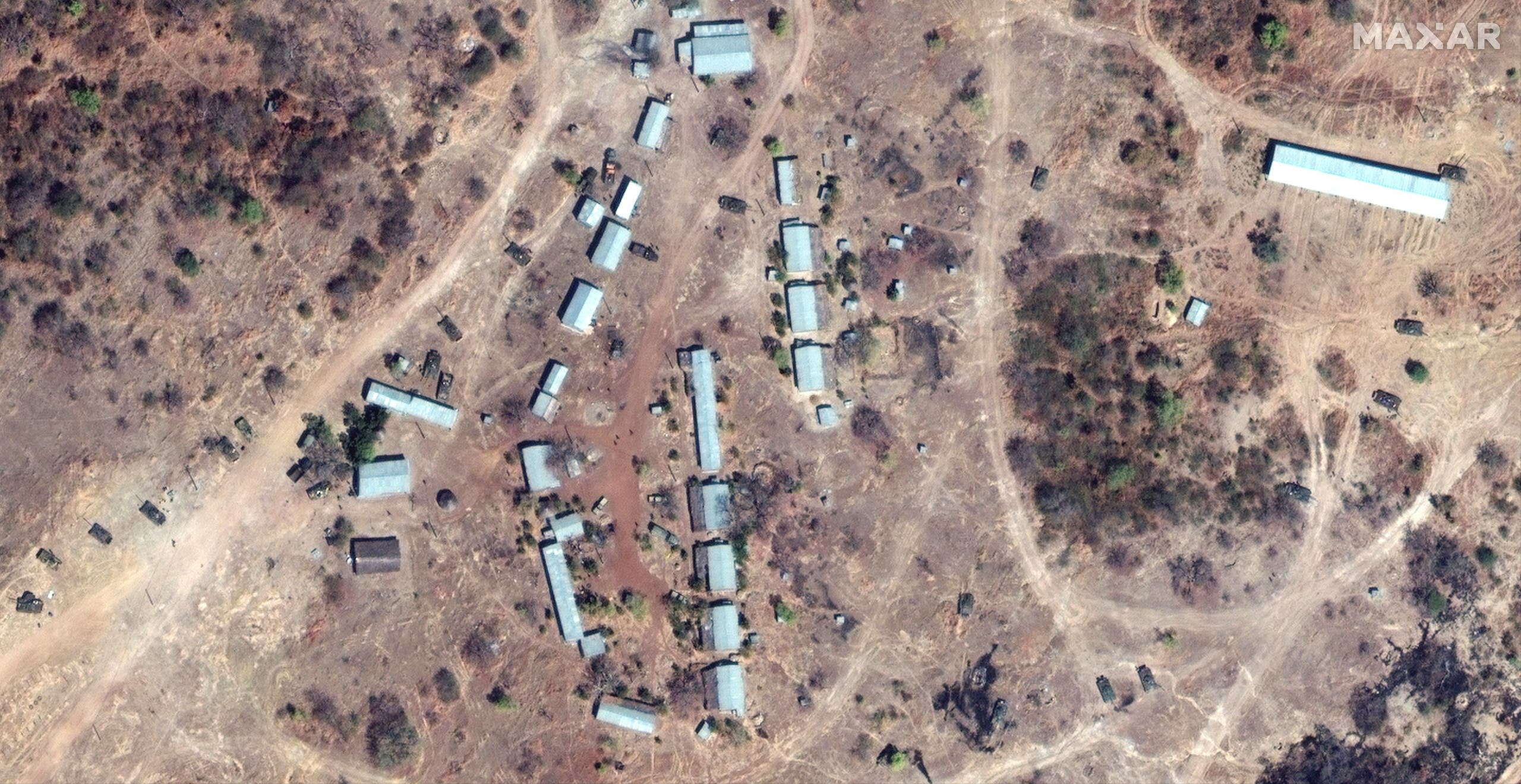 Tanks at a garrison northwest of Biher town in Ethiopia are seen in this satellite image taken November 18, 2020 and supplied by Maxar Technologies. (Reuters)