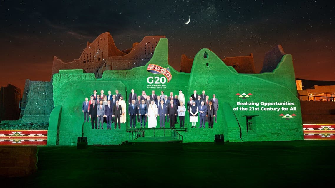The G20 leaders family photo projected in Riyadh. (Twitter: @G20org)