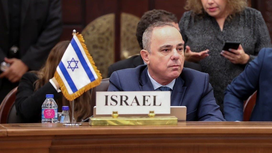 Israeli Energy Minister Yuval Steinitz speaks at the third East Mediterranean Gas Forum (EMGF) meeting which is hosted by Egypt and brings together Cyprus, Greece, Israel, Italy, Jordan and the Palestinians in Cairo, Egypt January 16, 2020. (Reuters/Shokry Hussien)