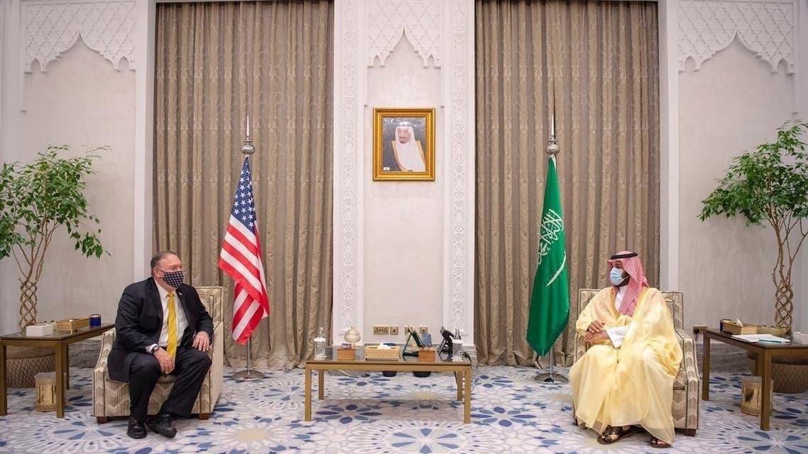 US Secretary of State Mike Pompeo (L) and Saudi Arabia's Crown Prince Mohammed bin Salman in NEOM. (Twitter/KSAMOFA)