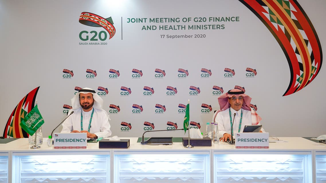 Saudi Arabia's finance and health ministers at the G20 Riyadh summit. (G20riyadhsummit.org)