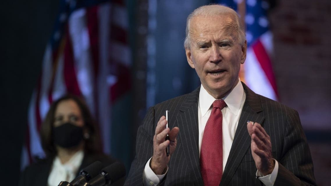 In this file photo US President-elect Joe Biden speaks after a meeting with governors in Wilmington, Delaware, on November 19, 2020. (AFP)