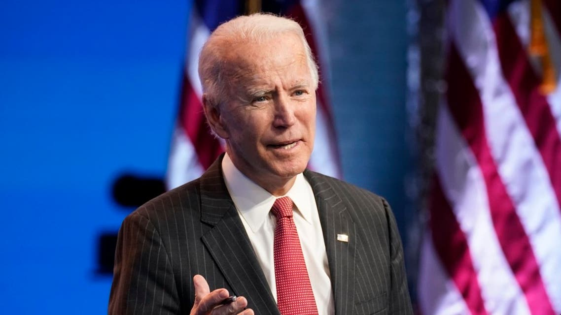 US President-elect Joe Biden, accompanied by VP-elect Kamala Harris, speaks at The Queen theater, Nov. 19, 2020, in Wilmington, Del. (AP)