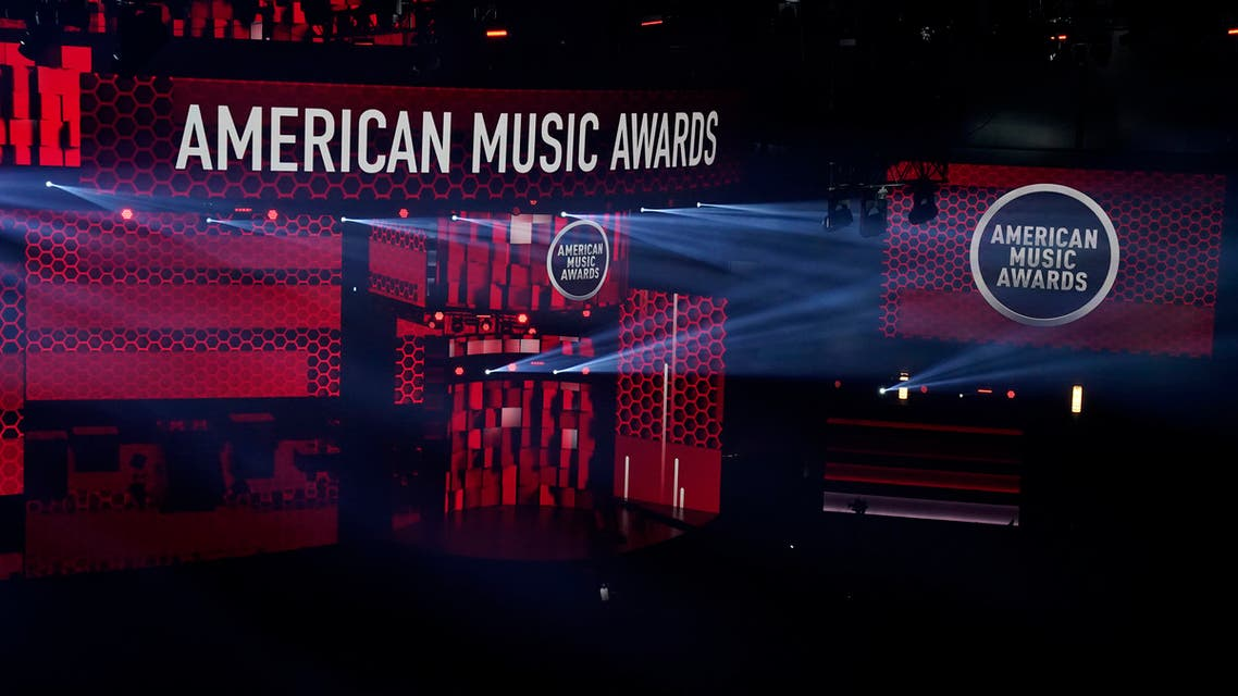 A view of the stage appears before the start of the American Music Awards on Sunday, Nov. 22, 2020, at the Microsoft Theater in Los Angeles. (AP)