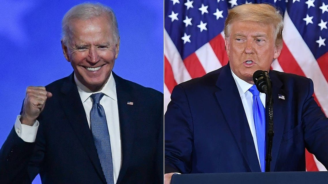 Joe Biden after speaking during election night; and Donald Trump on election night at the White House, November 4, 2020. (AFP)
