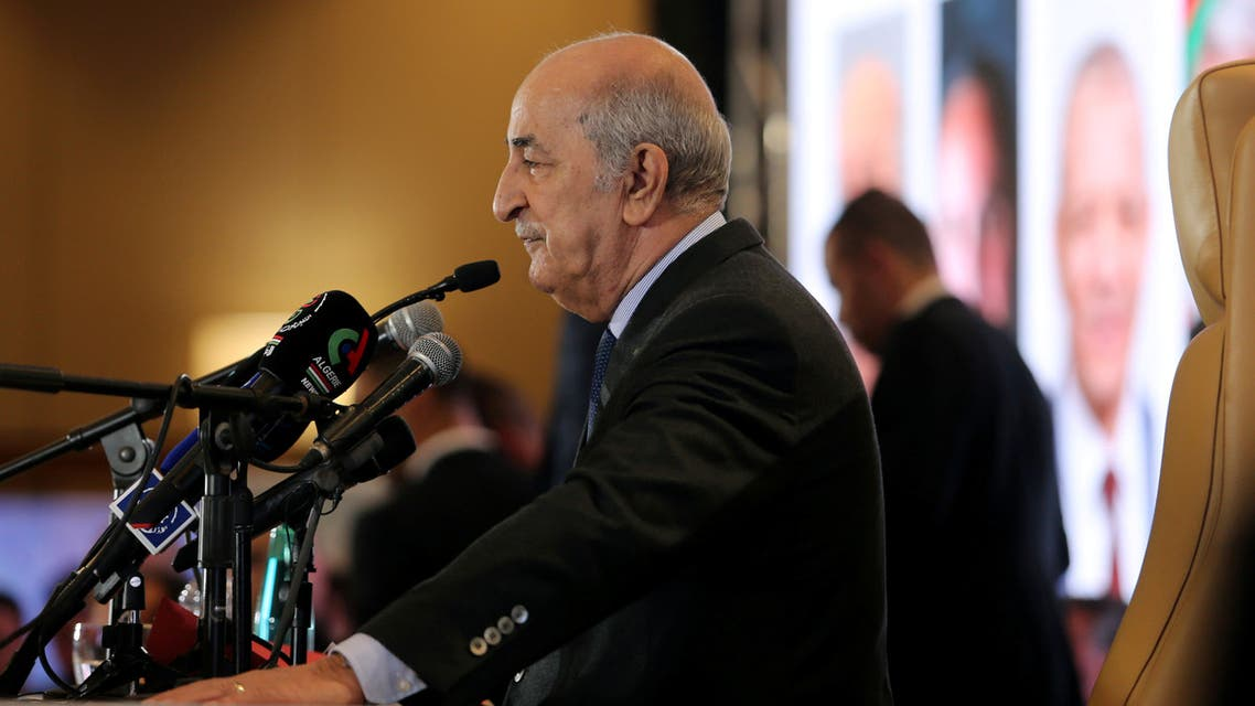 FILE PHOTO: Newly elected president Abdelmadjid Tebboune talks to the press during a news conference, in Algiers, Algeria December 13, 2019. REUTERS/Ramzi Boudina/File Photo