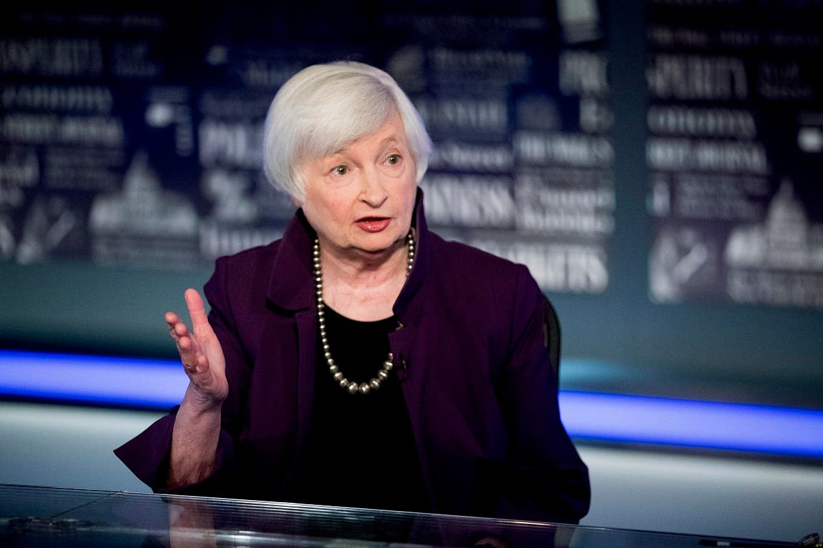 Former Fed Chair Janet Yellen in a televised interview, Aug. 14, 2019. (AP)