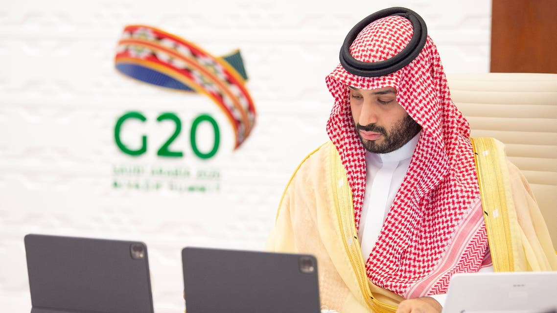 Saudi Crown Prince Mohammed bin Salman attends the 15th annual G20 Leaders' Summit in Riyadh, Saudi Arabia, November 22, 2020. Bandar Algaloud/Courtesy of Saudi Royal Court/Handout via REUTERS ATTENTION EDITORS - THIS PICTURE WAS PROVIDED BY A THIRD PARTY