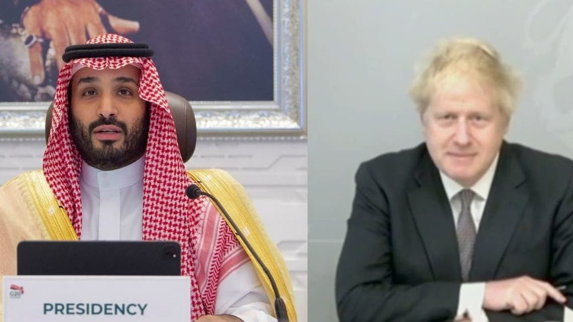 Combination picture of Saudi Arabia's Crown Prince Mohammed bin Salman (L) and UK Prime Minister Boris Johnson (R). (AFP)