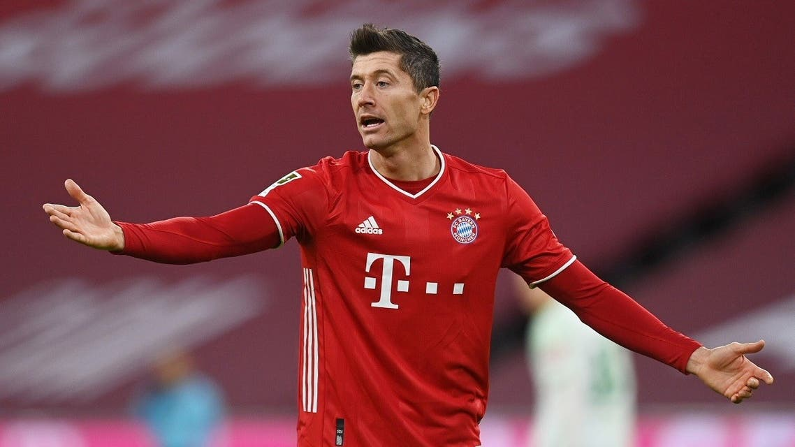 Bayern Munich's Robert Lewandowski reacts in the match against Werder Bremen in Munich, Germany on November 21, 2020. (Reuters)