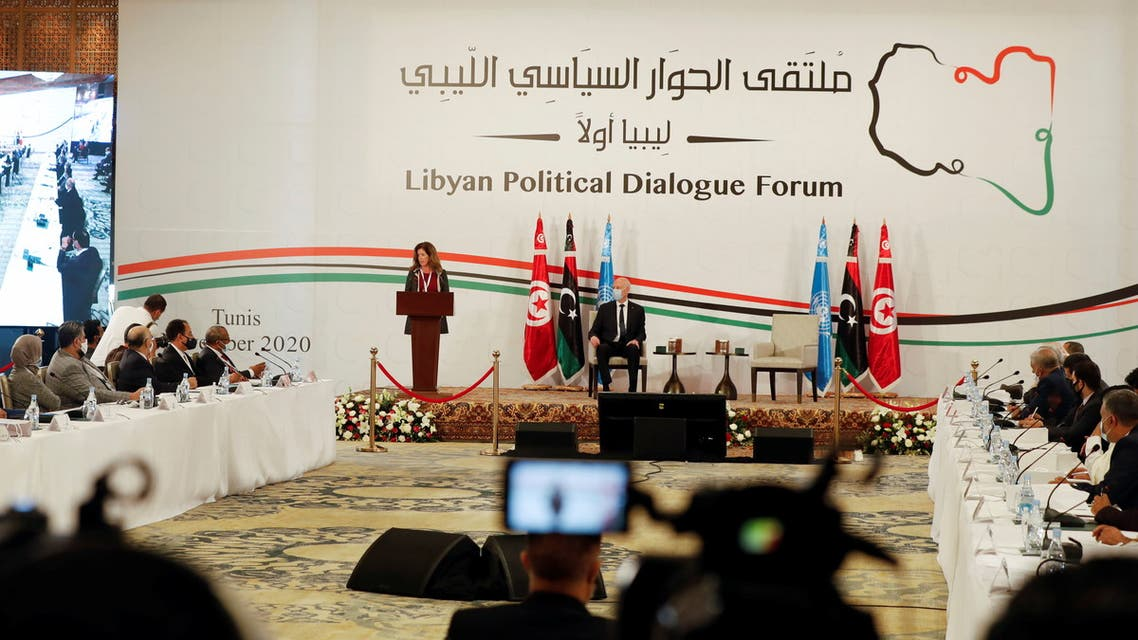 Deputy Special Representative of the UN Secretary-General for Political Affairs in Libya Stephanie Williams speaks during the Libyan Political Dialogue Forum in Tunis, Tunisia November 9, 2020. REUTERS/Zoubeir Souissi
