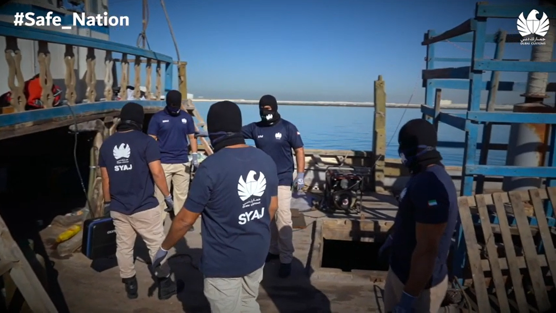 Dubai authorities inspect a ship for narcotics in a video released by Dubai Customs. (Screengrab: Dubai Customs.)