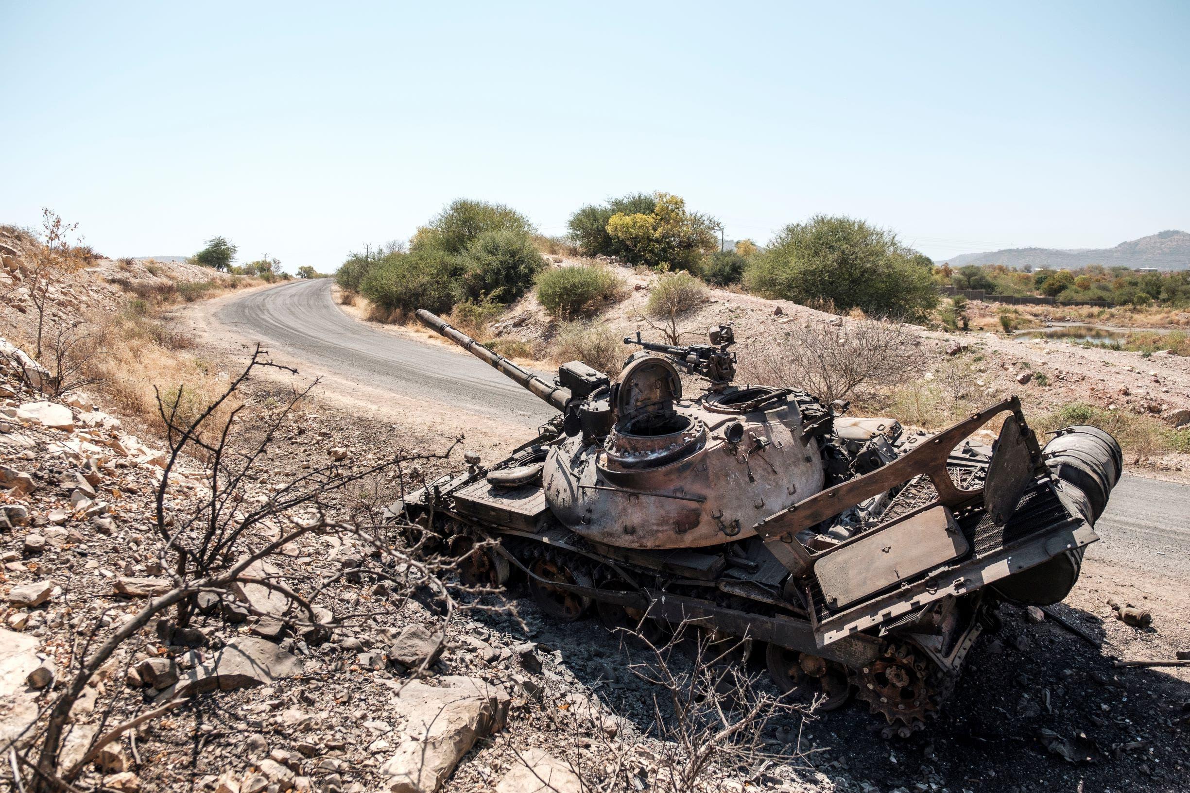 دباية للجيش الإثيوبي مدمرة إثر النزاع في تيغراي (أرشيفية)