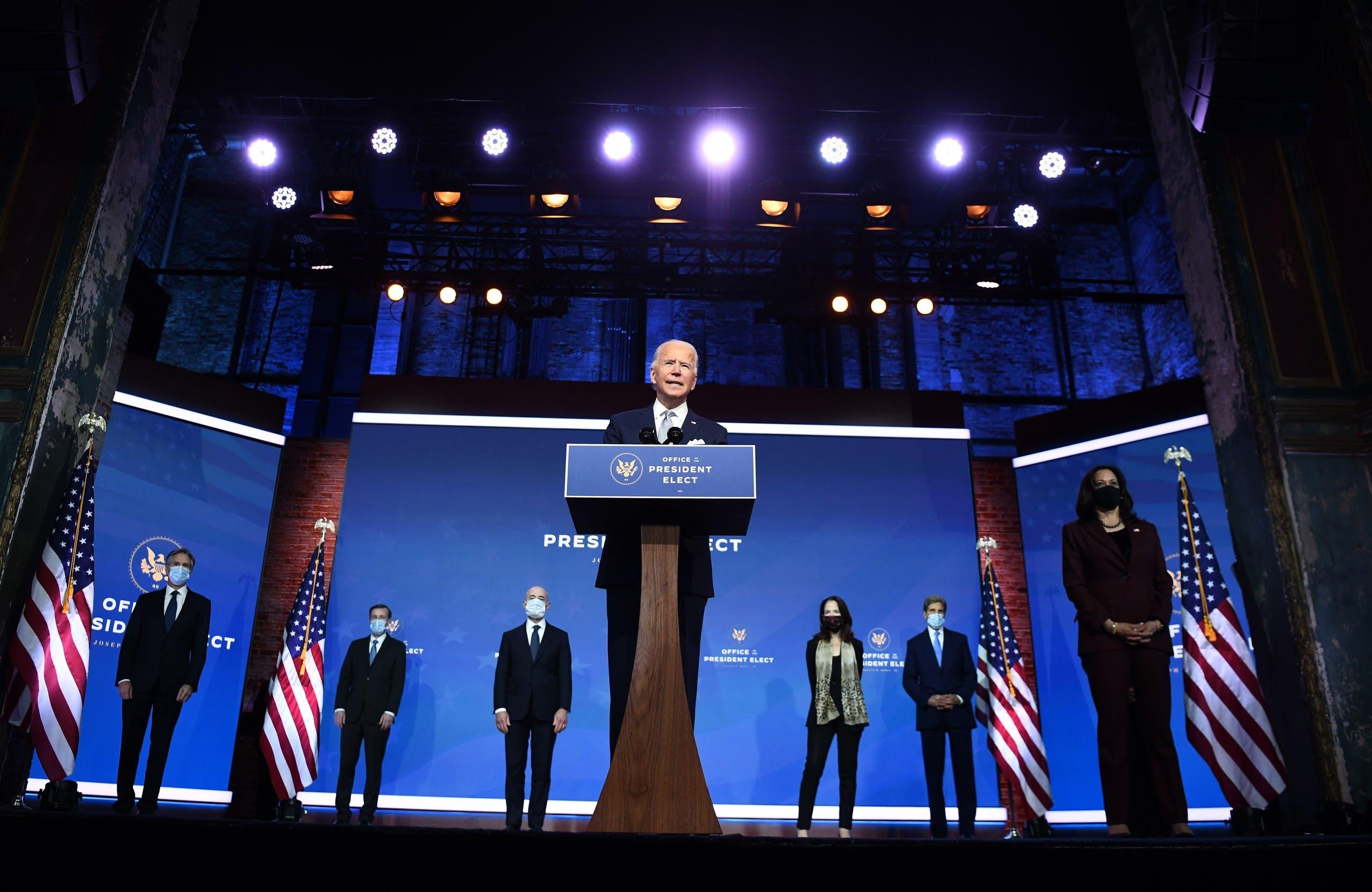 بايدن خلال إعلانه عن فريقه للأمن والسياسة الخارجية في 24 نوفمبر