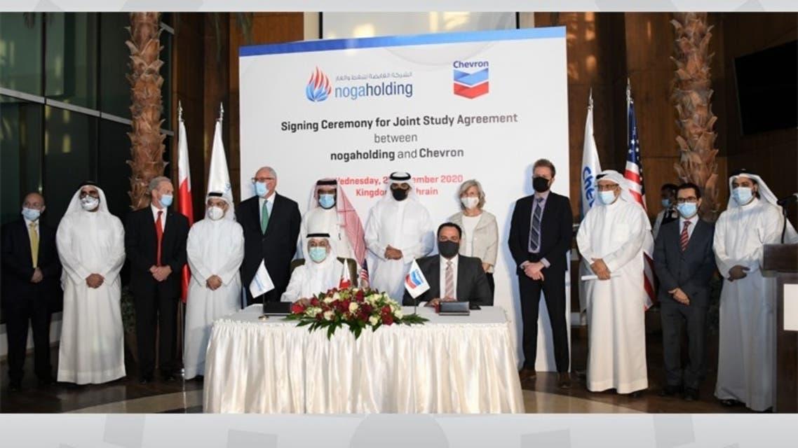 الشركة القابضة للنفط والغاز توقع اتفاقية مع شركة شيفرون الشرق الأوسط لتطوير الأعمال لإجراء دراسة مشتركة متخصصة في مجال الغاز الطبيعي