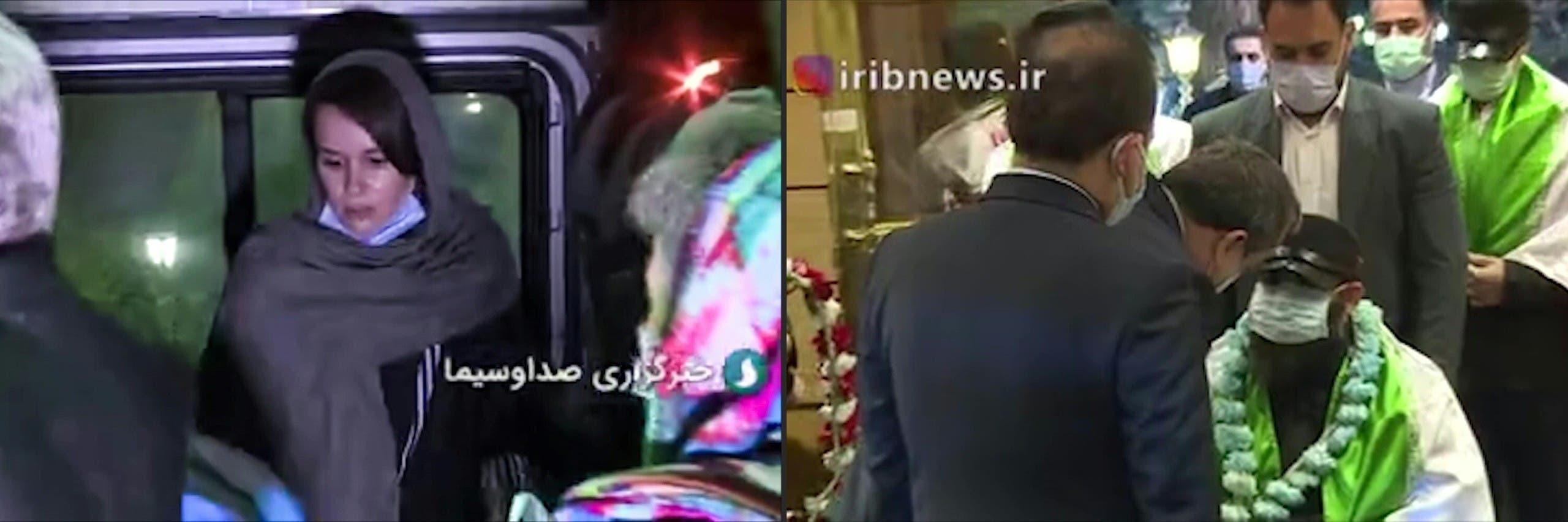 لحظات بثها التلفزيون الإيراني للحظات التبادل (فرانس برس)