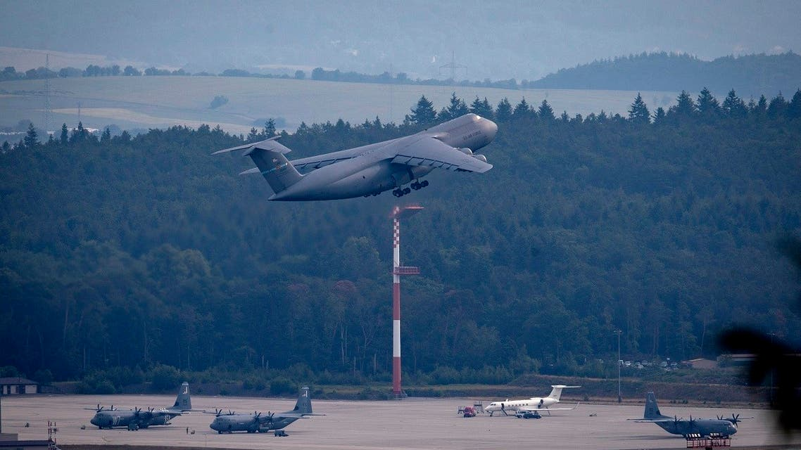 A US military aircraft takes off at Ramstain Air Base in Ramstein, Germany, June 9, 2020. (AP)