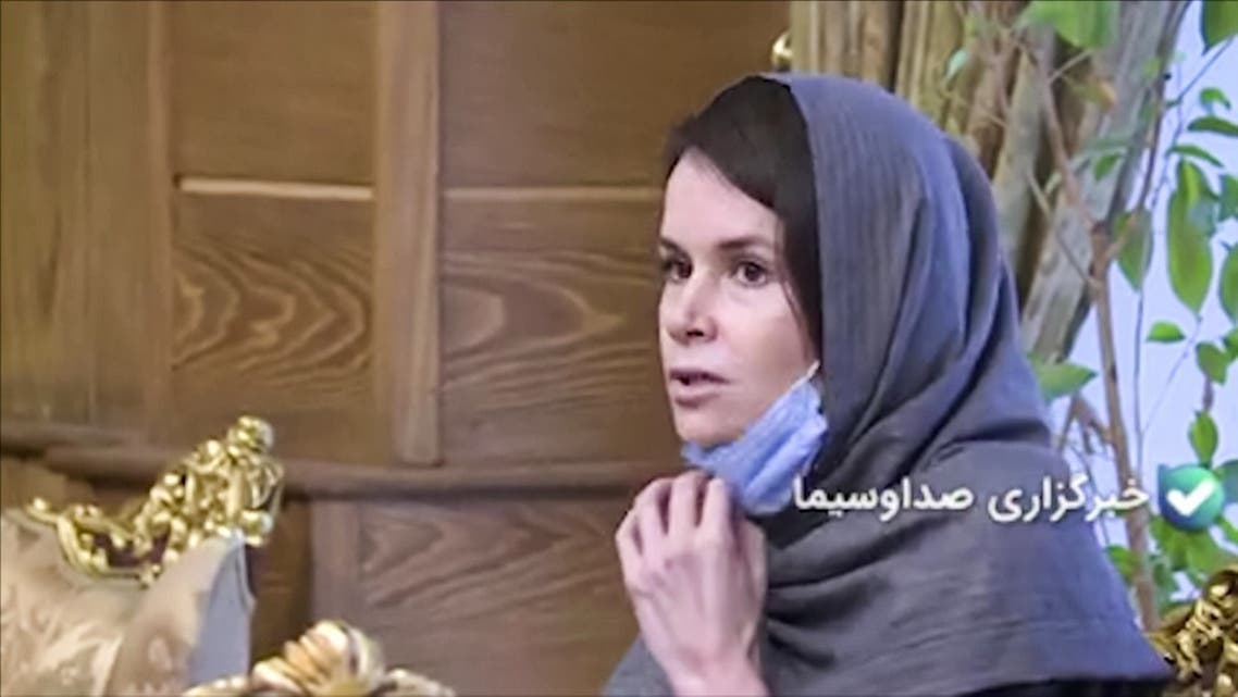 An image grab from footage obtained from Iranian State TV IRIB on November 25, 2020, shows Australian-British academic Kylie Moore-Gilbert, who was serving a 10-year prison sentence for spying, during her release in Iran. (AFP/HO/IRIB News)