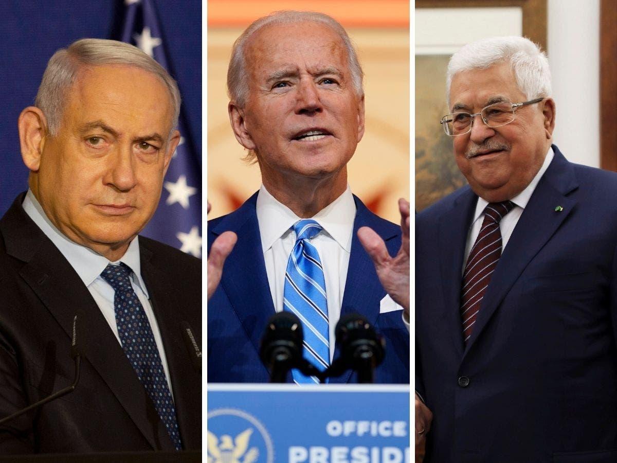 Israeli Prime Minister Benjamin Netanyahu, left, US President Joe Biden, center, and Palestinian President Mahmoud Abbas. (AP)