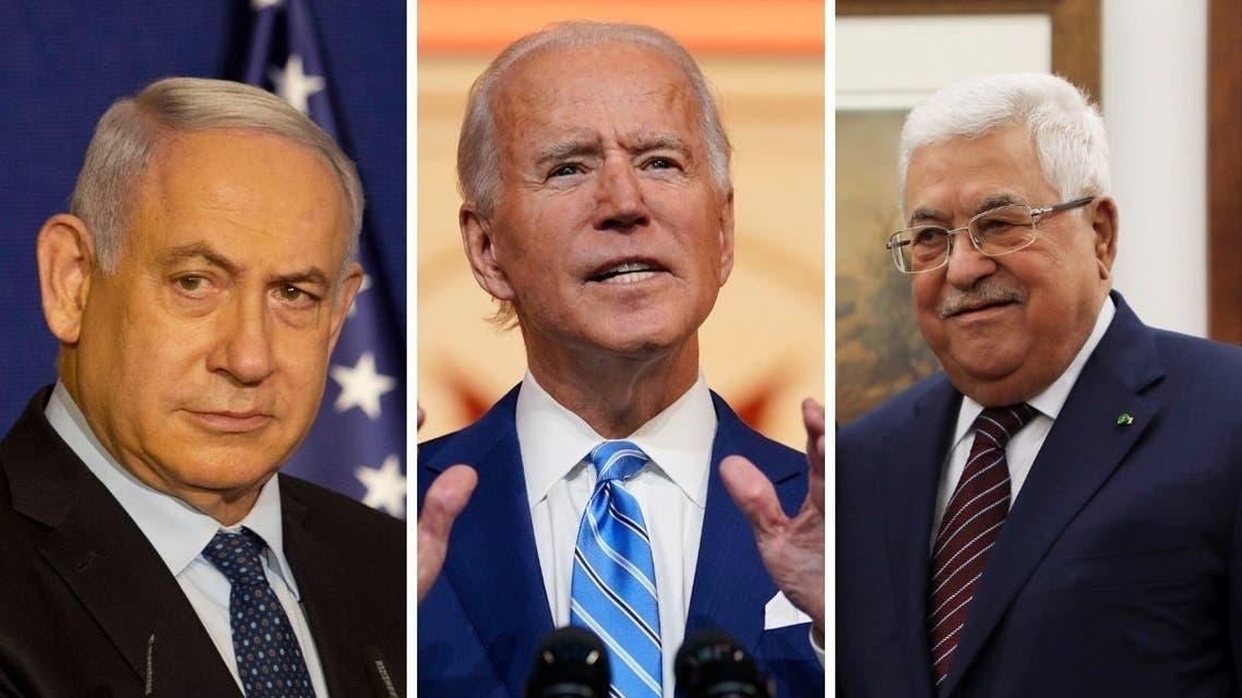 Israeli Prime Minister Benjamin Netanyahu, left, US President-elect Joe Biden, center, and Palestinian President Mahmoud Abbas. (AP)