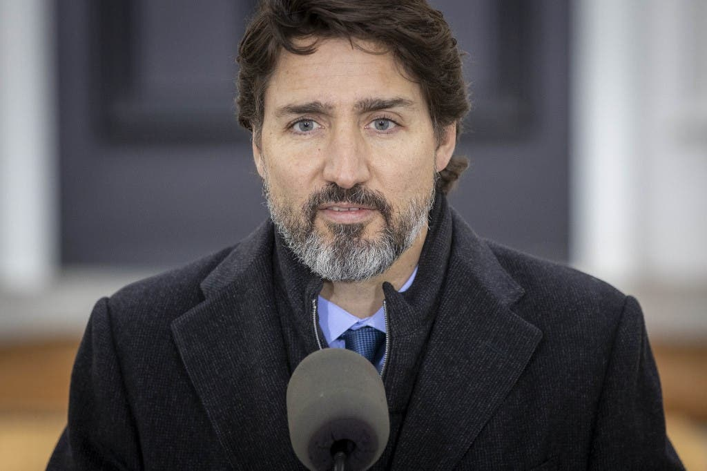 Canadian Prime Minister Justin Trudeau speaks during a Covid-19 pandemic briefing from Rideau Cottage in Ottawa on November 20, 2020. (AFP)
