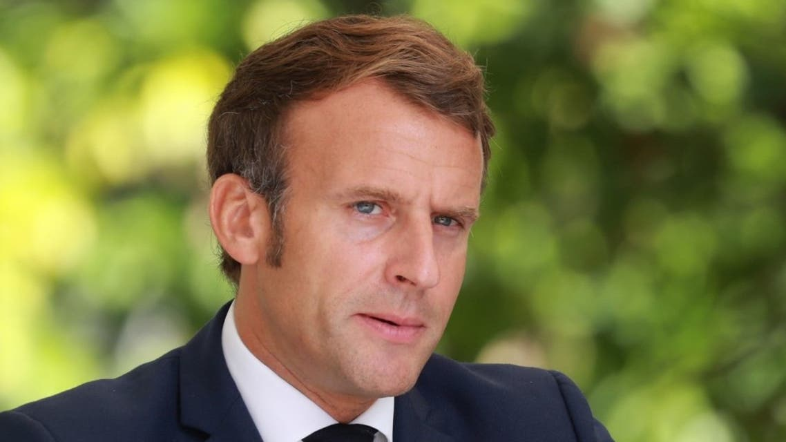 French President Emmanuel Macron gives a press conference at Corsica's prefecture in Ajaccio, on September 10, 2020. (AFP)