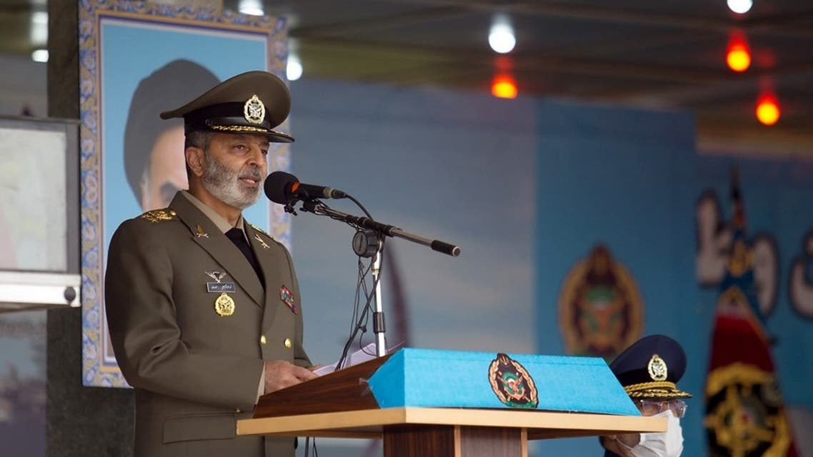 A handout picture provided by Iranian army official website on April 17, 2020 shows Iranian army Commander-in-chief Abdolrahim Mousavi speaking during the Iran army day parade in Tehran. (AFP)