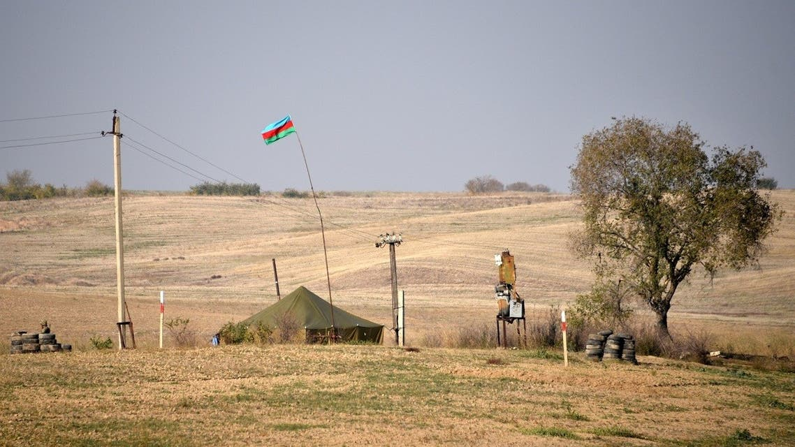 A tent of Azerbaijani army is pictured at a checkpoint outside the village of Berdashen on November 27, 2020. (Karen Minasyan/AFP)