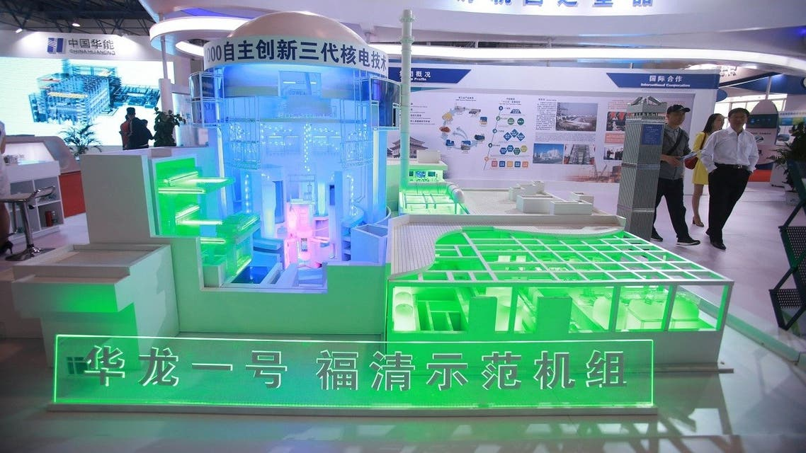 "A model of the nuclear reactor ""Hualong One"" is pictured at the booth of the China National Nuclear Corporation (CNNC) at an expo in Beijing, China April 29, 2017. (Reuters/Stringer)"