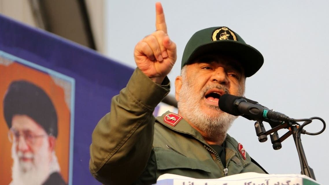 Iranian Revolutionary Guards commander Major General Hossein Salami speaks during a pro-government rally in the capital Tehran's central Enghelab Square on November 25, 2019. (AFP)