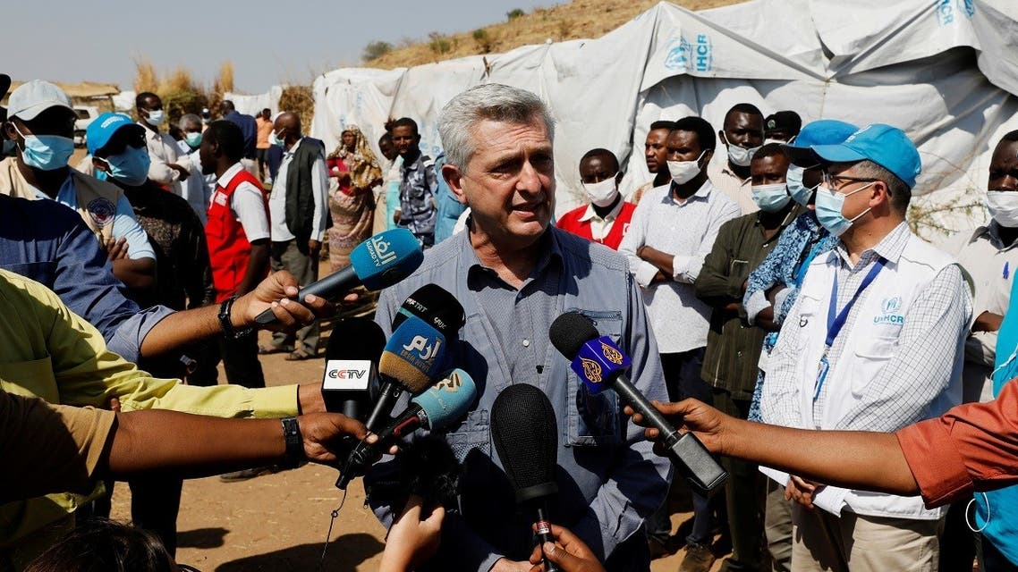 The United Nations High Commissioner for Refugees (UNHCR) Filippo Grandi during his visit to the Um Rakuba refugee camp which houses Ethiopian refugees on the Sudan-Ethiopia border, Sudan, November 28, 2020. (Reuters/Baz Ratner)