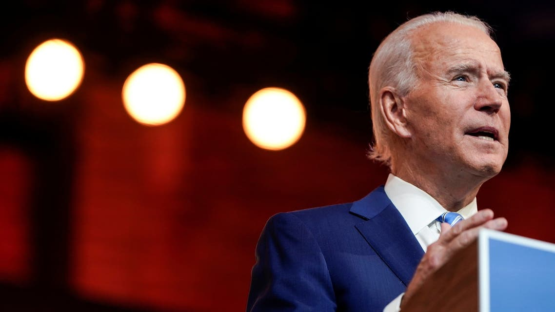 U.S. President-elect Joe Biden delivers a pre-Thanksgiving speech at his transition headquarters in Wilmington, Delaware, U.S., November 25, 2020. REUTERS/Joshua Roberts