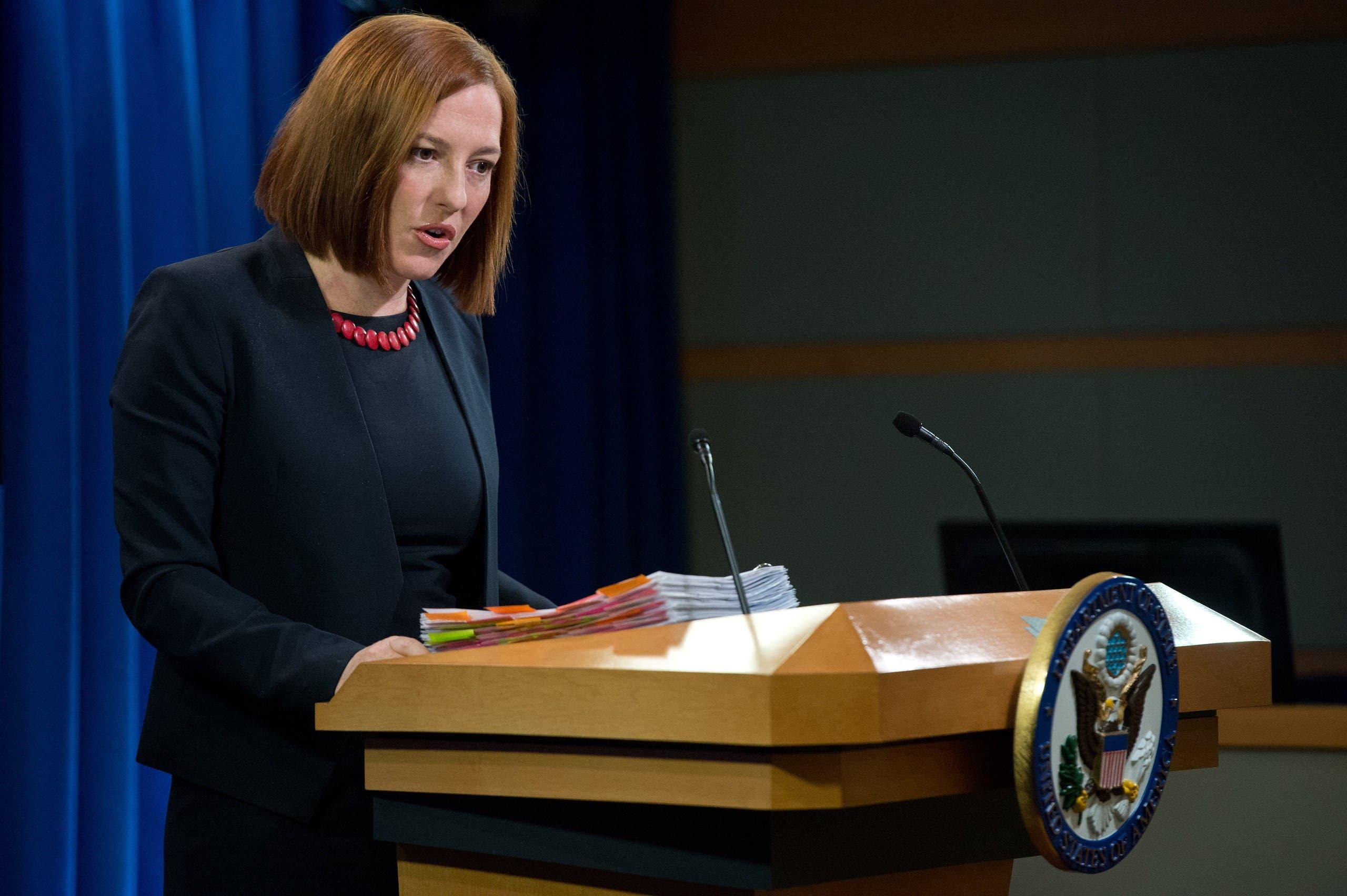 ساكي في 2014 خلال إفادة صحافية عند عملها كمتحدثة باسم وزارة الخارجية الأميركية