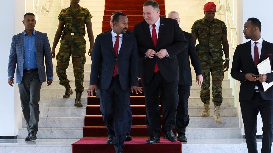 US Secretary of State Mike Pompeo, center right, walks with Ethiopia's PM Abiy Ahmed, center-left, in Addis Ababa, Feb. 18. 2020. (AP)