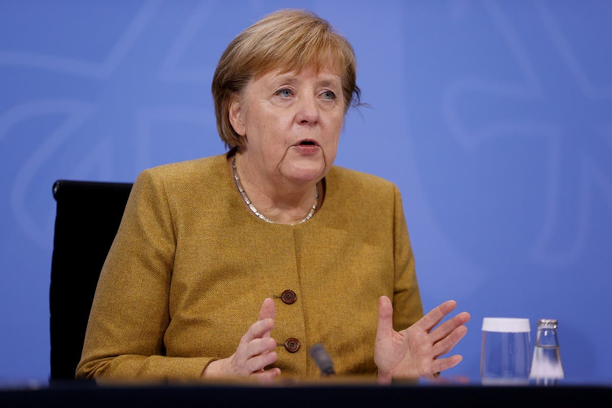 German Chancellor Angela Merkel addresses a news conference following a video conference with Germany's state premiers on extending coronavirus restrictions at the Chancellery in Berlin, Germany on November 25, 2020. (Reuters)