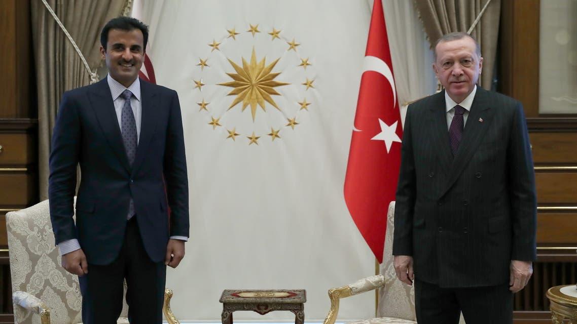 Turkish President Tayyip Erdogan meets with Qatar's Emir Sheikh Tamim bin Hamad al-Thani in Ankara, Turkey, November 26, 2020. Murat Cetinmuhurdar/Presidential Press Office/Handout via REUTERS ATTENTION EDITORS - THIS PICTURE WAS PROVIDED BY A THIRD PARTY. NO RESALES. NO ARCHIVE.