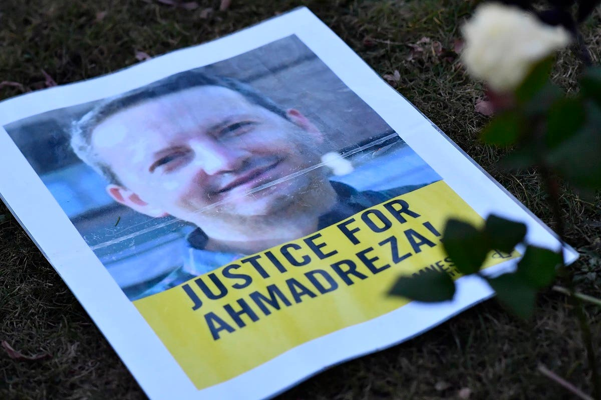 A flyer of Ahmadreza Djalali during a protest outside the Iranian embassy in Brussels, Feb. 13, 2017. (File photo: AFP)