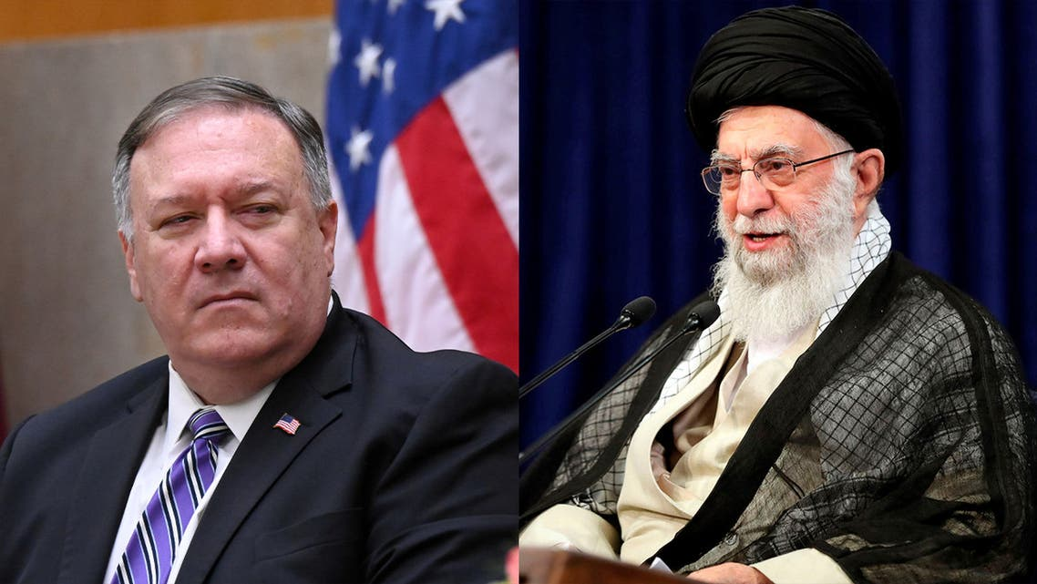 US Secretary of State Mike Pompeo, left, and Iran Supreme Leader Ali Khamenei, right. (AP)