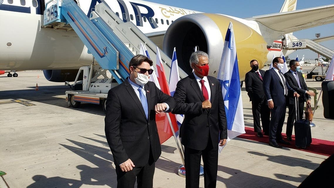 The Bahraini delegation, led by Industry, Trade and Tourism Minister Zayed bin Rashid Al-Zayani, landed at Ben Gurion airport, Dec. 1, 2020. (Twitter/@Aaronson_David)