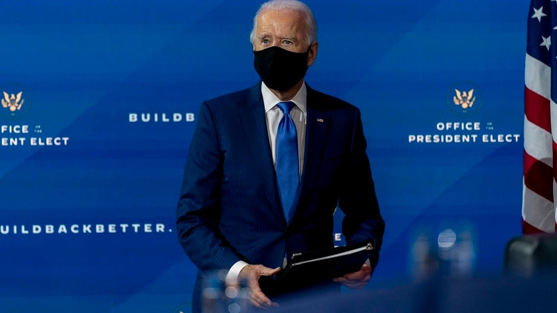 US President-elect Joe Biden departs a news conference after introducing his nominees and appointees to economic policy posts, Dec. 1, 2020. (AP)