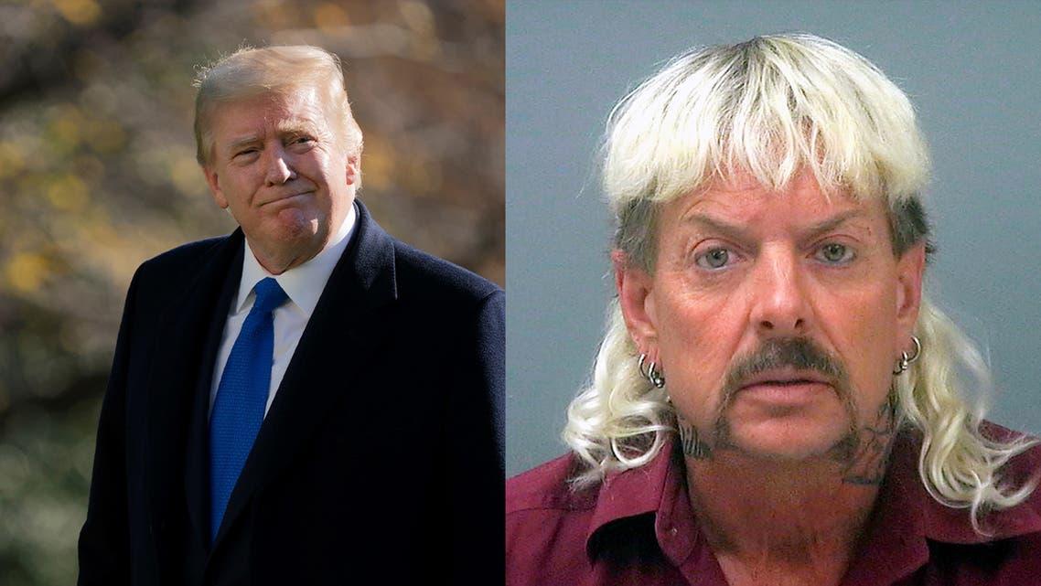 US President Donald Trump, left, and imprisoned Tiger King star Joe Exotic, right. (AP)