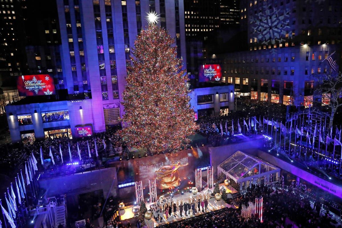 Rockefeller Center Christmas Tree lighting ceremony, December 4, 2019, in New York. (AP)