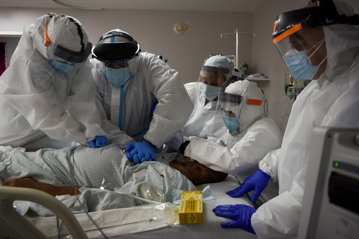 Dr. Joseph Varon, 58, the chief medical officer at United Memorial Medical Center (UMMC), and a team of healthcare workers perform CPR on a COVID-19 patient at UMMC, during the coronavirus disease (COVID-19) outbreak, in Houston, Texas. (Reuters)