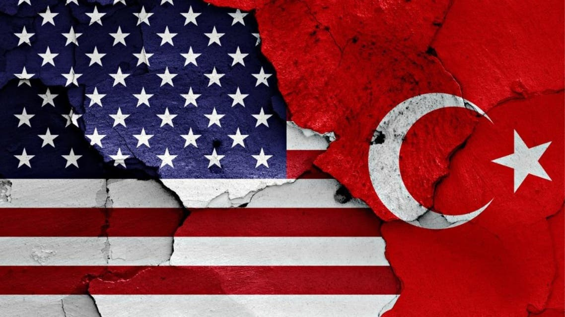 Flags of USA and Turkey painted on cracked wall stock photo