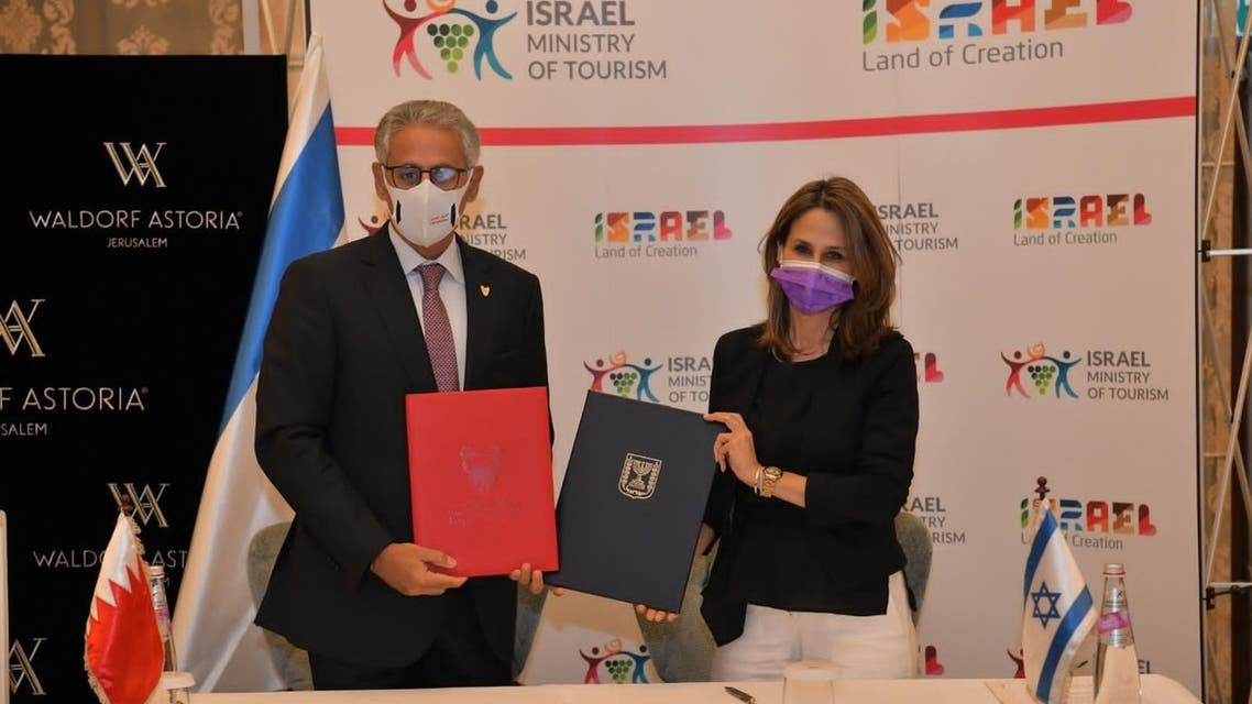 Bahraini Industry and Commerce Minister Zayed bin Rashid Al-Zayani and Israeli Minister of Tourism Orit Farkash-Hacohen. (BNA)