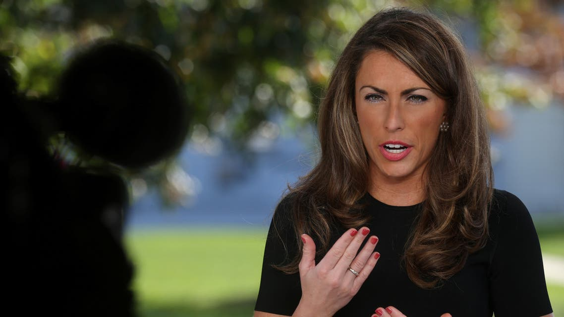 White House Director of Strategic Communications Alyssa Farah gives a television interview about the White House response to U.S. President Donald Trump's coronavirus disease (COVID-19), outside the White House in Washington, U.S. October 6, 2020. REUTERS/Jonathan Ernst