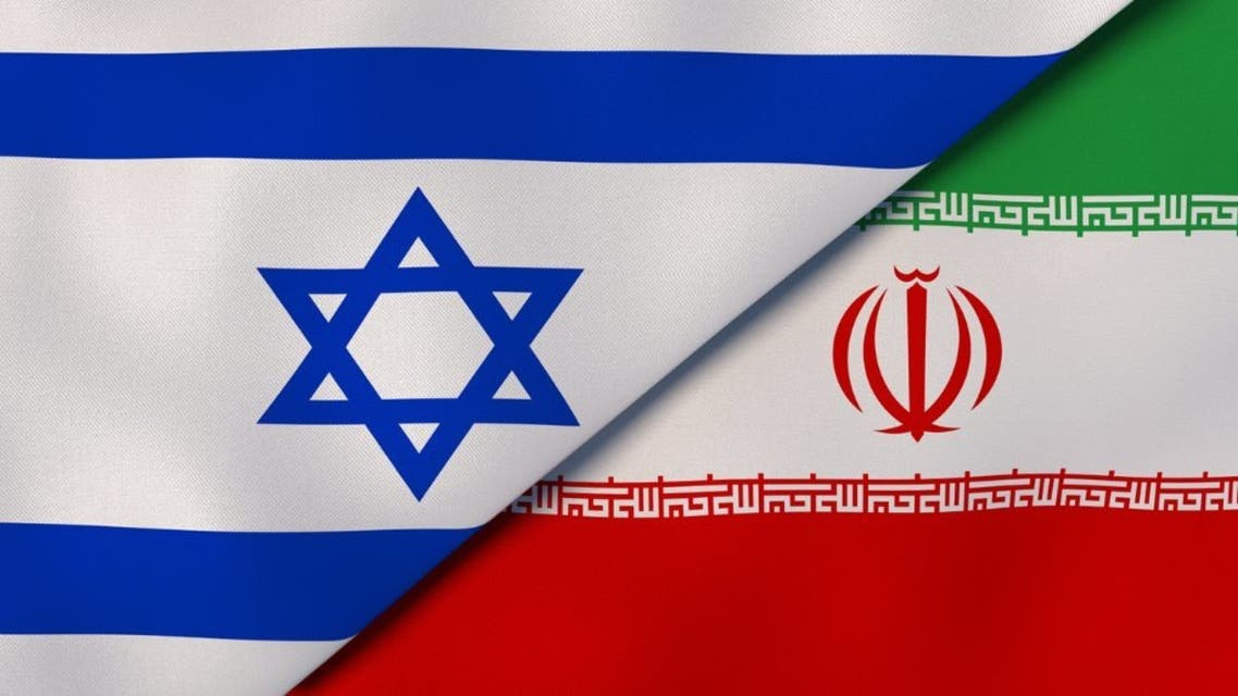 Israel Iran national flags. News, reportage, business background. 3D illustration stock photo