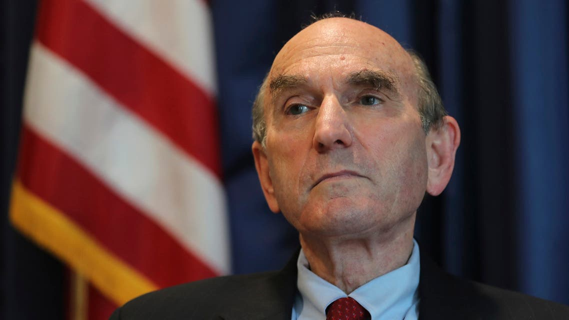 Elliott Abrams, U.S. special representative for Iran, talks during an interview with The Associated Press at the U.S. Embassy in Abu Dhabi, United Arab Emirates, Thursday, Nov. 12, 2020. Abrams insisted Thursday a pressure campaign of sanctions targeting Iran would persist into the administration of Joe Biden, even as the incoming president has pledged to potentially return America to Tehran's nuclear deal with world powers. (AP Photo/Kamran Jebreili)