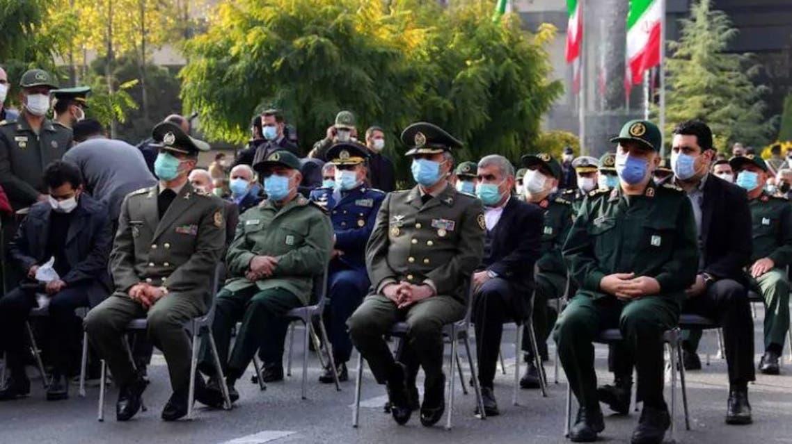 قادة إيران العسكريين خلال مراسم جنازة فخري زاده